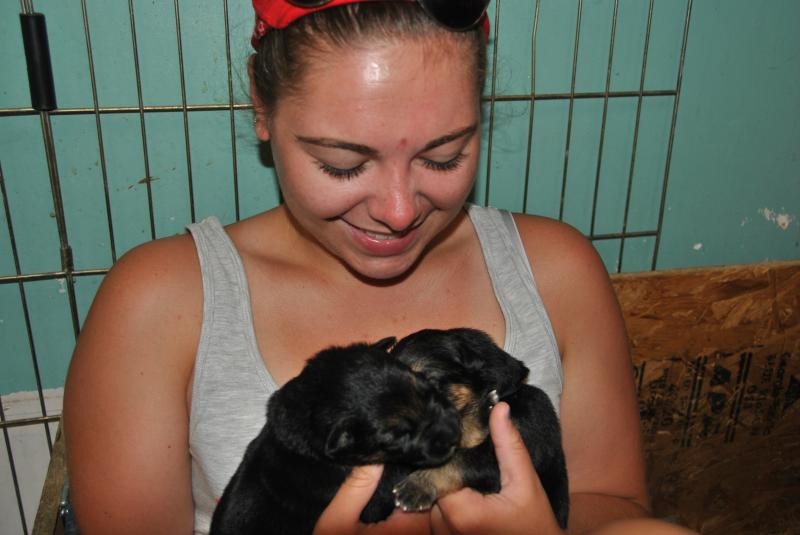 She is so excited to get a puppy